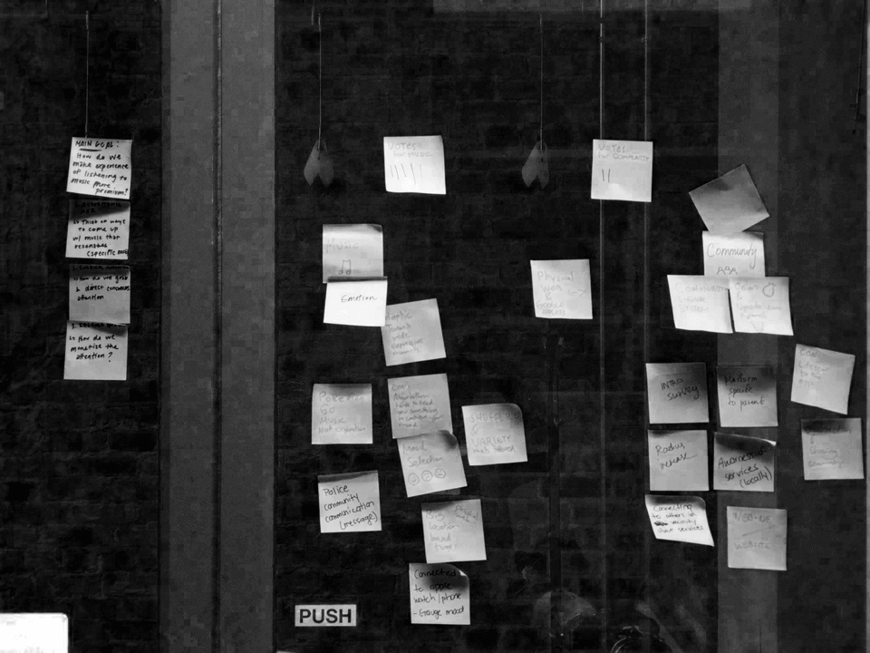 Black and white, sticky notes on a glass wall.
